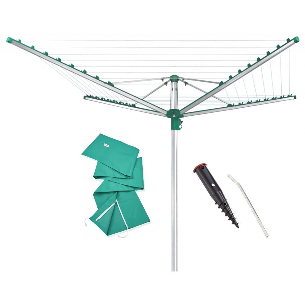 LEIFHEIT Linomatic Easy 400 Zahradní sušák na prádlo + Ukotvovací držák + Ochranný obal LEIFHEIT set 85285+85606+85666