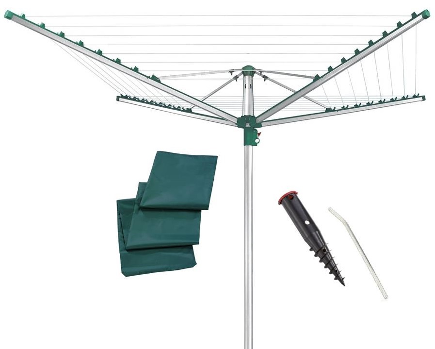 LEIFHEIT Zahradní sušák na prádlo LINOMATIC Comfort 500 + Ukotvovací držák + Ochranný obal LEIFHEIT set 85272+85606+85632
